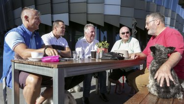 The Gentlemen of Docklands group meet each morning for coffee at the Mad Duck Cafe. From left to right. Shaun Bassett, Matthew Selleck, Trevor Rowe, Ian Johnson and Kim Rea.
