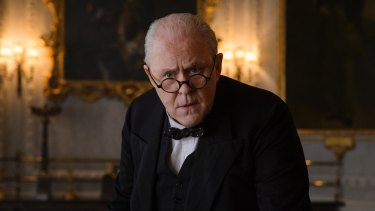 Jon Lithgow as Sir Winston Churchill in <i>The Crown</i>.