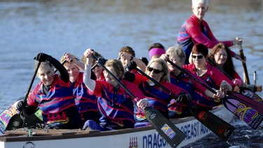 Dragon boat team, Dragons Abreast Canberra, at their training session on Lake Burley Griffin on Saturday.