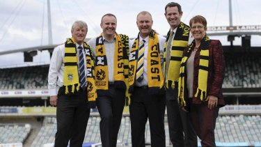 Capital Football president Mark O'Neill, ACT Chief Minister Andrew Barr, Mariners boss Shaun Mielekamp, Phoenix boss David Dome and Wellington mayor Celia Wade-Brown recently announced an A-League match between the two clubs in Canberra recently.