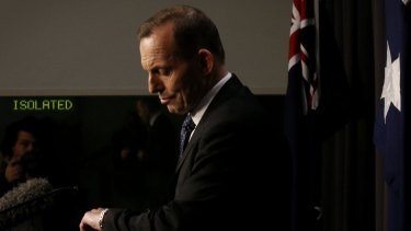 Prime Minister Tony Abbott during his late night press conference on Tuesday.