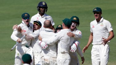 Full advantage: Against the odds, it was Australia who took advantage of the bad wicket in Pune.