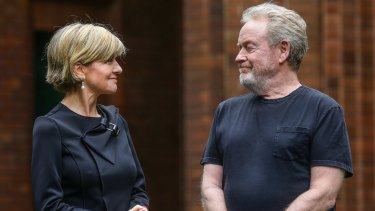 Confirmation: Director Ridley Scott with Foreign Affairs <inister Julie Bishop at the announcement of the filming of <i>Alien: Covenant</i> at Fox Studios.