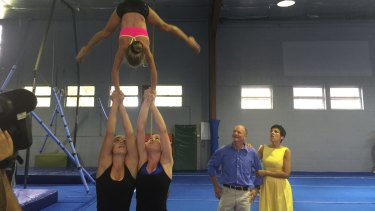Premier Campbell Newman and wife Lisa watch gymnastic students work out at Mitchelton Youth Club.