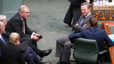 The government's leader of the house, Christopher Pyne (right), did not try to defend Mr Brough but instead gagged the debate in Parliament.