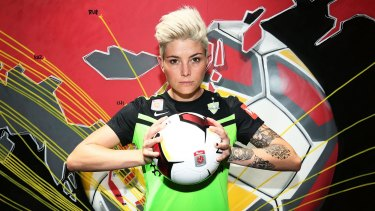 Ready for the new season: Canberra FC's Michelle Heyman attended the W-League launch on Monday.