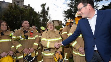 Premier Daniel Andrews and new Emergency meets CFA firefighters last month.
