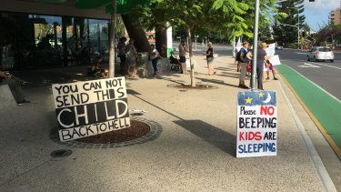 The vigil for baby Asha at the Lady Cilento Hospital early on Sunday morning.
