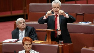 Senator Malcolm Roberts delivers his first speech as One Nation party leader Pauline Hanson listens.