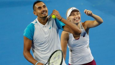 Through to the final ... Nick Krygios and Daria Gavrilova of Australia Green have beaten Carline Garcia and Kenny De Schepper of France during day six of the 2016 Hopman Cup at Perth Arena.
