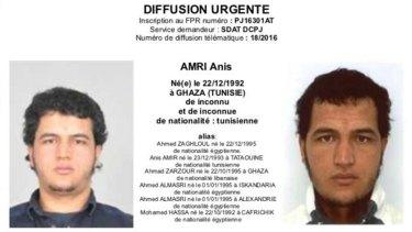An alert showing Tunisian national Anis Amri.