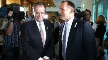 Opposition Leader Bill Shorten and Prime Minister Tony Abbott on Tuesday morning.