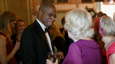 Paul Beatty and Camilla, Duchess of Cornwall at the Man Booker Prize event in London.