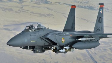 File image showing a US F-15E Strike eagle in-flight.