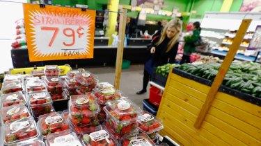 Strawberries on sale at Brunswick market.