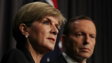 """""""Cruel and unneccessary"""": Tony Abbott and Julie Bishop address the media on Wednesday morning."""