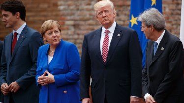 G7 leaders at Friday's meeting: Canadian Prime Minister Justin Trudeau, German Chancellor Angela Merkel, US President Donald Trump and Italian Prime Minister Paolo Gentiloni.