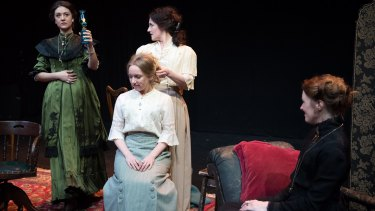 Lauren Richardson, Zoe Jensen (seated), Janine Watson and Paige Gardiner in Sport for Jove's Three Sisters.