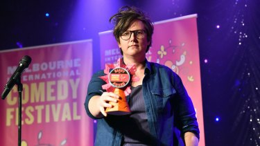 Gadsby with her Barry Award for the most outstanding performance at the 2017 Melbourne International Comedy Festival.