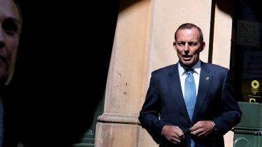 Prime Minister Tony Abbott shortly before addressing the media in Sydney.