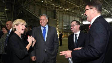 No official complaint: Foreign Affairs Minister Julie Bishop speaks with Australian Ambassador to the US designate Joe Hockey, Qantas CEO Alan Joyce and US Ambassador John Berry, at the launch of the G'Day USA program in Sydney.