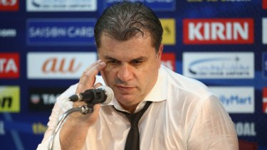 Socceroos coach Ange Postecoglou at the post match press conference.