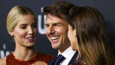 Dad? Annabelle Wallis, Tom Cruise and Sofia Boutella at The Mummy premiere at State Theatre on Monday in Sydney.