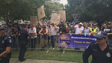 Protesters gather for the Reclaim Australia rally in Brisbane.