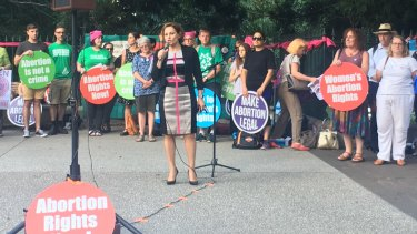 Deputy Premier Jackie Trad addresses pro-choice abortion activists at a recent rally in Brisbane.