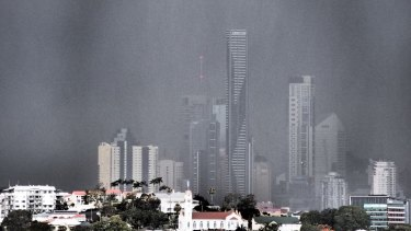 November's storm rolling in over Brisbane, as seen from Ascot.