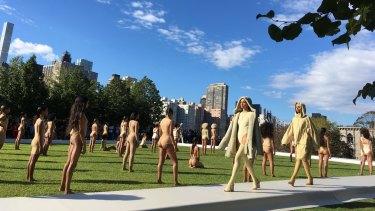 For the last four seasons, West has showcased variations of basics - hoodies, baggy pants, leggings and Spanx-like beige underwear.