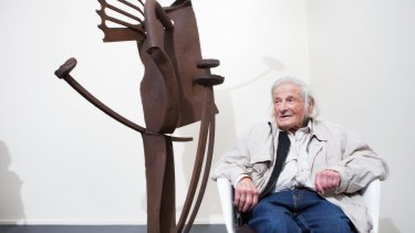 Melbourne sculptor Erwin Fabian at his latest exhibition to coincide with his 100th birthday.