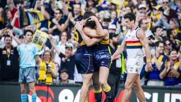 Eagles rock: Jamie Cripps and Jack Darling after making the top eight on percentage with a win over Adelaide at Domain Stadium in Perth.