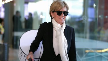 Foreign Affairs Minister Julie Bishop arrives at Canberra Airport.