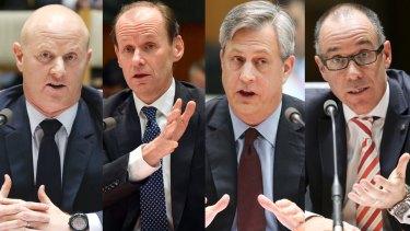 The big four CEOs: Ian Narev, CBA; Shayne Elliott, ANZ; Brian Hartzer, Westpac; and Andrew Thorburn, NAB.