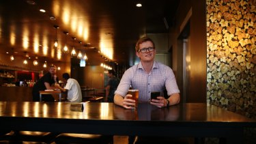 Joonas Karppinen, cofounder of The Happiest Hour app at The Fire House pub in North Sydney.