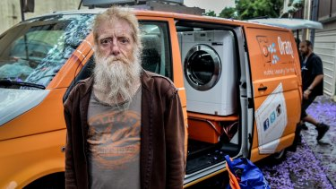 Homeless man Pete de Graaf welcomes the opportunity to regularly wash his clothes for free.