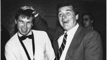 What a moment: Paul Couch (left) with fellow Geelong Brownlow Medallist Alistair Lord.