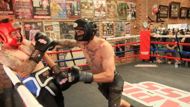Tragic loss ... A file photo of Davey Browne Jnr and Jack Brubaker (right) sparring at Ryan Waters' gym.