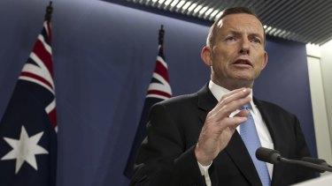 Prime Minister Tony Abbott addresses the media on Sunday.