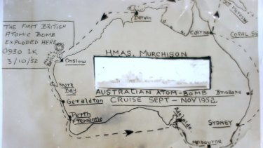 The route taken by the HMAS Murchison in October 1952.