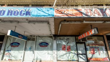 Vacant and run down shops on Fitzroy St, St Kilda.