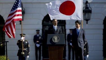 US President Barack Obama and Japanese Prime Minister Shinzo Abe at the White House on Tuesday.