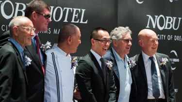 Partners in Nobu Hospitality (from left) Hollywood film producer Meir Teper, Melco Crown Entertainment co-chairman James Packer, founding chef of Nobu Restaurant Nobu Matsushita, Melco Crown chief executive Lawrence Ho, Academy Award winning actor Robert De Niro, and CEO of Nobu Hospitality Trevor Horwell.