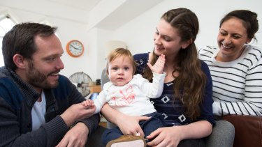 Au pair Annika Abraham with her host family Matthew Eglan, Amanda Buckland and one-year-old Lucy.