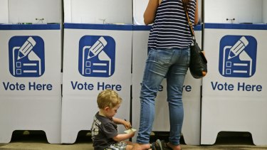 Voters at Lake Macquarie council chambers.