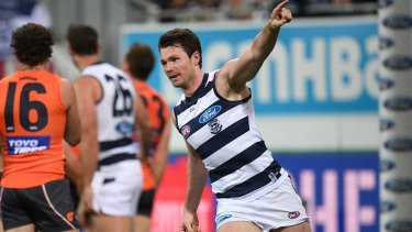 Superb shift: Patrick Dangerfield enjoys a major for the Cats during their win over GWS in round 23.