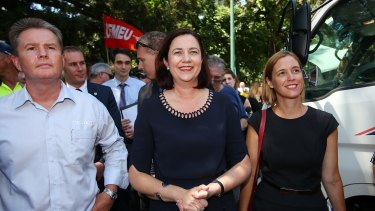 Queensland Premier Annastacia Palaszczuk takes part in the protest outside Parliament House.