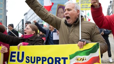 Opponents of the Iranian regime  demonstrate outside the EU headquarters in Brussels earlier this month.