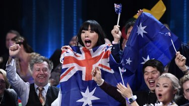 Dami Im celebrates as the Eurovision results are announced.